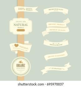 set of natural and organic label. vintage banner and badges design.