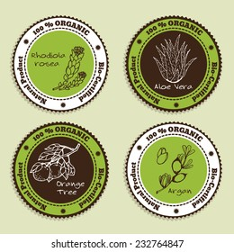 Set of Natural Organic Product badges. Labels for Essential Oils. Aloe Vera, Rhodiola Rosea, Orange Tree, Argan