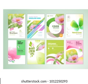 Set of natural product brochure, annual report, flyer design templates in A4 size. Vector illustrations for beauty, organic products and cosmetics presentation, document cover, layout template designs