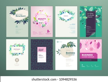 Set of natural product brochure, annual report, flyer design templates in A4 size. Vector illustrations for beauty, organic products and cosmetics presentation, layout template designs.