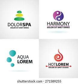 Set of natural spa yoga wellness meditation massage logo elements vector illustration