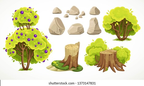 Set of natural summer objects big and average bushes, stones and moss-covered stumps on white background. Environment element