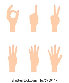 Set of Naturalistic Hand Silhouettes that show the numbers 0, 1, 2, 3, 4, 5 with flexion of the fingers. Vector Illustraion. EPS10