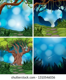 Set of nature background illustration