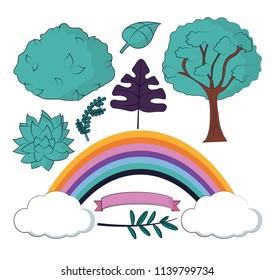Set of nature cartoons