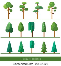 Set of nature elements: tree, spruce. Vector flat illustration.