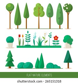 Set of nature elements: trees, spruce, bushes, flowers, grass. Vector flat illustration.