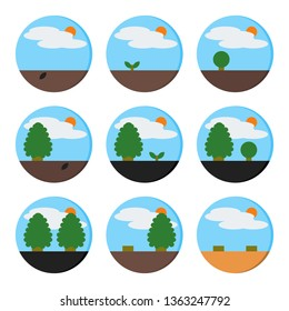 Set of Nature Environment, Natural with Tree, Cloud, and Sun Icon - Vector