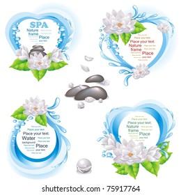 Set of nature frames and SPA design elements. (vector illustration)