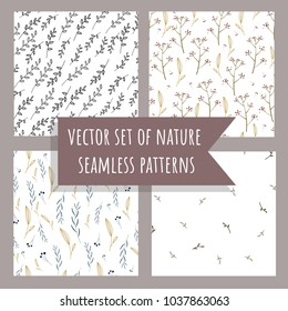 Set of nature herbal floral seamless patterns. Hand drawn vector background. Beautiful template for your design.