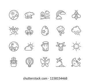Set of Nature outline icons isolated on white background. Editable Stroke. 64x64 Pixel Perfect.