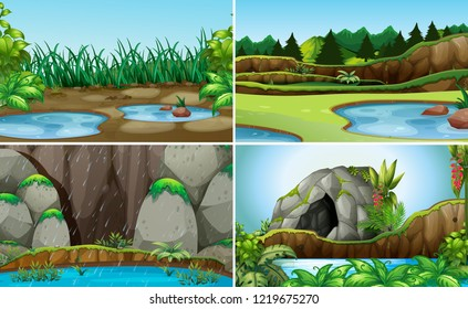 Set of nature water landscape illustration