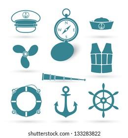 Set of nautic symbols - vector illustration