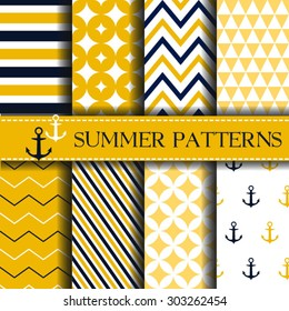 Set of nautical backgrounds. Summer pattern Sea, marine theme. Vector seamless patterns collection.