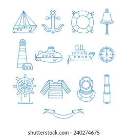 Set of nautical design elements in doodle style