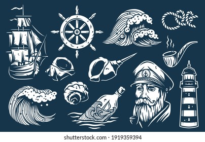 Set of nautical elements for marine design, including sea or ocean wave, captain, ship, helm, seashell, knot, lighthouse and smoking pipe