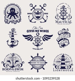 Set of nautical emblems with anchors, steering wheels, lighthouses, seaman, sea animals