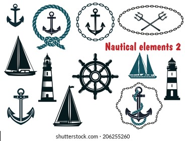 Set of nautical heraldry themed logo design elements with assorted anchors, crossed tridents, sailboat, yacht, two lighthouses, ships wheel, schooner, rope and chain frames