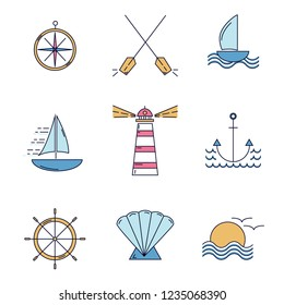 Set of nautical icons in color. Ocean travel elements thin line style