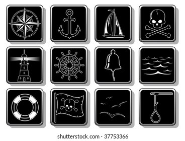 Set of nautical icons - vector
