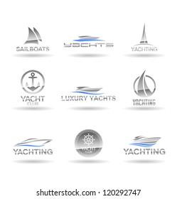 Set of  nautical  icons. Yachts and sailboats. Vol 1.