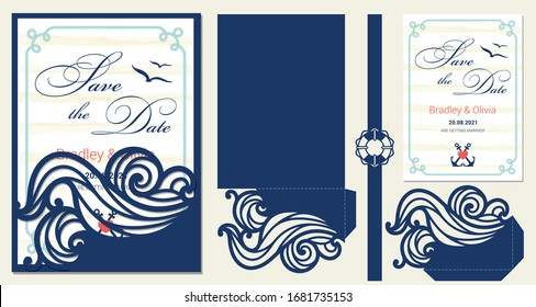 Set of nautical invitation laser cutting template: sleeve envelope, pocket, save tha date card with rope border, belly band with lifebuoy. Paper cutout collection. Die cut vector design.