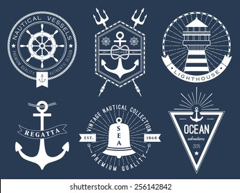 Set of nautical logos, badges and labels on blackboard