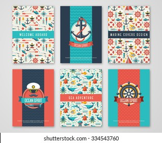 Set of Nautical and Marine Banners and Flyers. Card Template with Flat Sea Symbols. Ocean Theme. Vector Illustration.