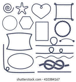 Set of nautical marine rope knots, corners and frames. Decorative elements in sea style. Vector illustration.