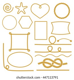 Set of nautical marine rope knots, corners and frames. Decorative elements in nautical style. Vector illustration.