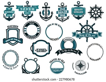 Set of nautical or marine themed icons and frames including ships anchors and wheels and circular rope frames and shields