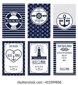Set of nautical and marine wedding invitation. Templates in white and blue colors. Vector illustration