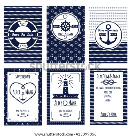 Set of nautical and marine wedding invitation. Templates in white and blue colors. Vector