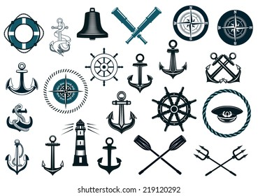 Set of nautical or naval icons with anchor, ship wheel, crossed tridents, lighthouse, bell, compass and spyglass for marine heraldry design
