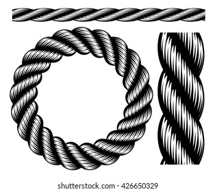 A set of nautical rope design elements