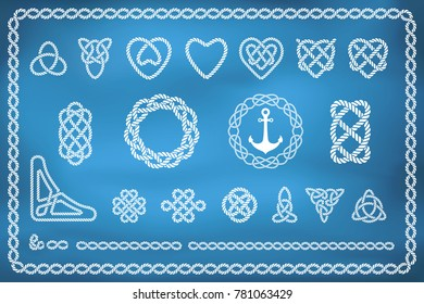 Set of nautical rope knots in different shapes and styles