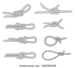 Set of nautical rope knots. Line design. Strong marine rope knots. Flat vector illustration isolated on white background.