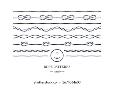 Set of nautical rope seamless patterns. Yacht style design. Vintage decorative elements. Template for prints, cards, fabrics, covers, flyers, menus, banners, posters and placard. Vector illustration.