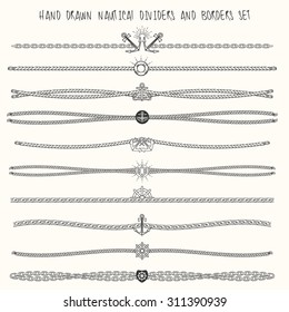 Set of nautical ropes and chains decor elements. Hand drawn dividers and borders. Only free font used.