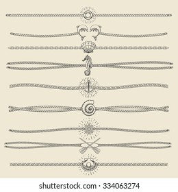 Set of nautical ropes and chains decor elements in hipster style. Hand drawn dividers and borders with dolphins seashells seahorse pearl oars etc. Only free font used.