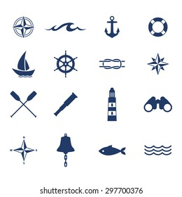 Set of nautical sea ocean sailing icons. Compass anchor wheel bell fish lighthouse symbols. Vector illustration.