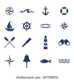 Set of nautical sea ocean sailing icons. Compass anchor wheel bell fish lighthouse symbols. Vector illustration.