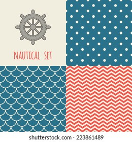 Set of nautical seamless patterns. Icon of wheel. Blue, cream, red colors. For cards, scrapbooks, invitations, printing on fabric etc.