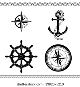 Set of nautical sketches. Anchor, ropes, compass, Rose of Wind, ship steering wheel, borders. Black and white colors.