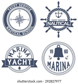 Set of Nautical Yacht badges. Vector Illustration isolated on white background.