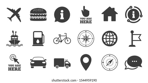 Set of Navigation and Gps icons. Information, chat bubble icon. Windrose, Compass and Burger signs. Bicycle, Ship and Car symbols. Location pointer and flag. Quality set. Vector