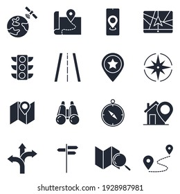 Set of Navigation icon. location, GPS elements pack symbol template for graphic and web design collection logo vector illustration