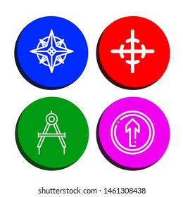 Set of navigation icons such as Navigator, Center of gravity, Compass, Straight , navigation