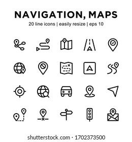 Set of navigation / map icons, containing pin, map, car, route and other icons with a white background.