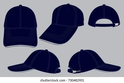 Set navy blue baseball cap for template